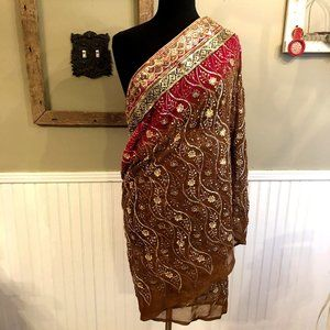 "Girls or Short Red Brown Sparkle Sari 28"" X 78"""